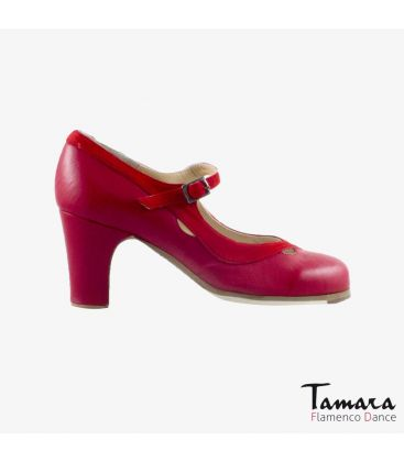 flamenco shoes professional for woman - Begoña Cervera - Salon Correa II red leather and suede classic 7cm heel
