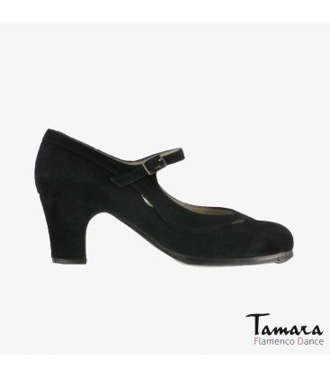 flamenco shoes professional for woman - Begoña Cervera - Salon Correa II black suede classic heel