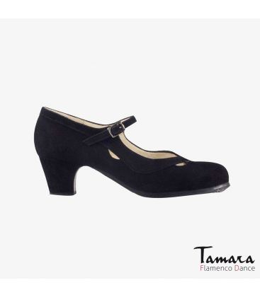 flamenco shoes professional for woman - Begoña Cervera - Salon Correa II black suede classic 5cm heel