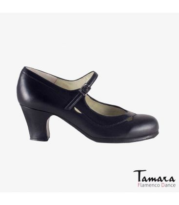 flamenco shoes professional for woman - Begoña Cervera - Salon Correa II black leather classic heel
