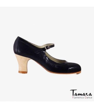 flamenco shoes professional for woman - Begoña Cervera - Salon Correa black snakeskin carrete wood