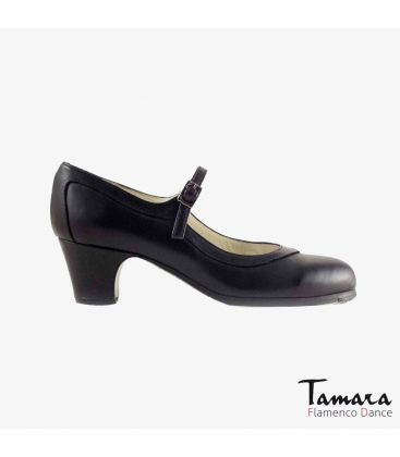 flamenco shoes professional for woman - Begoña Cervera - Salon Correa black leather carrete wood classic 5cm heel