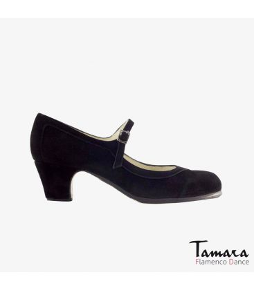 flamenco shoes professional for woman - Begoña Cervera - Salon Correa black suede classic 5cm heel