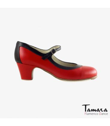 flamenco shoes professional for woman - Begoña Cervera - Salon Correa black and red leather classic 5cm heel