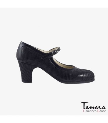 flamenco shoes professional for woman - Begoña Cervera - Salon Correa black snakeskin classic heel