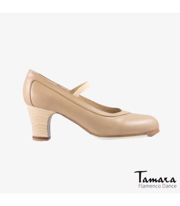 flamenco shoes professional for woman - Begoña Cervera - Salon beige leather classic wood heel