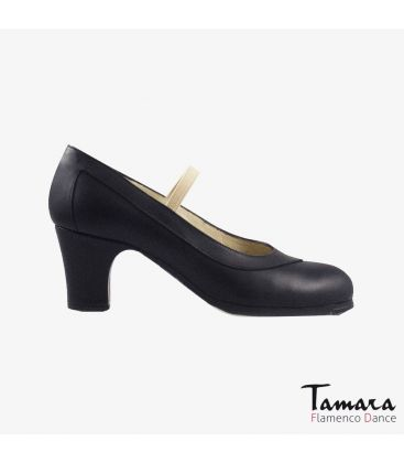 flamenco shoes professional for woman - Begoña Cervera - Salon black leather classic heel