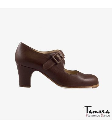 flamenco shoes professional for woman - Begoña Cervera - Tablas brown leather classic heel
