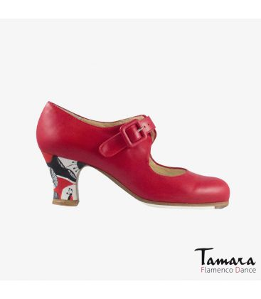 flamenco shoes professional for woman - Begoña Cervera - Tablas red leather carrete painted