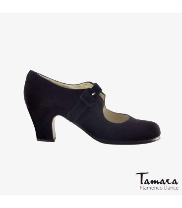 flamenco shoes professional for woman - Begoña Cervera - Tablas black suede classic heel