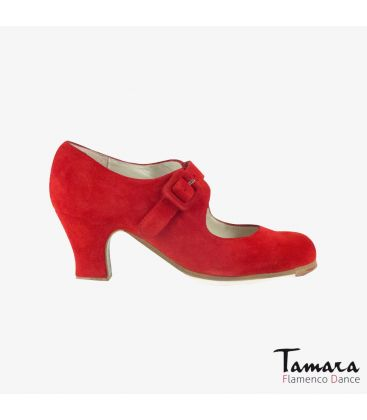 flamenco shoes professional for woman - Begoña Cervera - Tablas red suede carrete