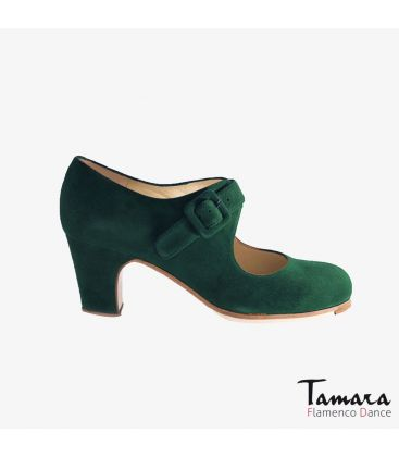 flamenco shoes professional for woman - Begoña Cervera - Tablas green suede classic heel