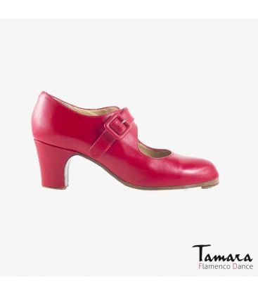 flamenco shoes professional for woman - Begoña Cervera - Tablas red leather classic heel