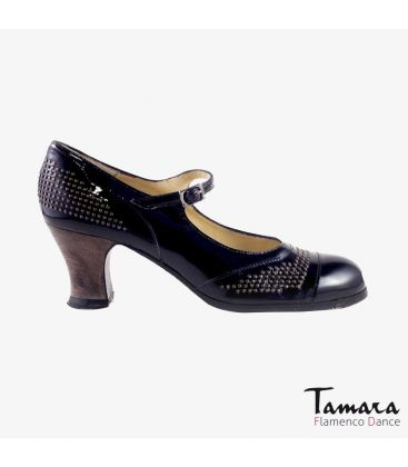 flamenco shoes professional for woman - Begoña Cervera - Tachas black patent leather carrete dark wood