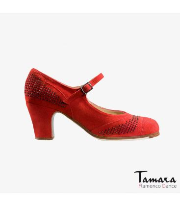 flamenco shoes professional for woman - Begoña Cervera - Tachas red suede classic heel
