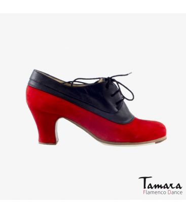 flamenco shoes professional for woman - Begoña Cervera - Blucher Tricolor black leather and red suede carrete