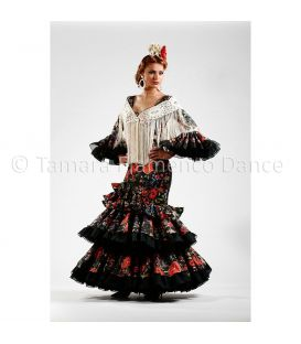 woman flamenco dresses 2015 - Roal - Quetama Black with Flowers