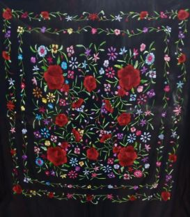 shawl 2 colors - - Manila Shawls Floral - Black with Colours