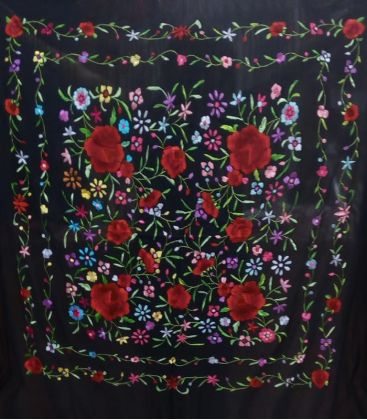manila shawls - - Manila Shawls Floral - Black with Colours