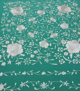 shawl 2 colors - - Manila Shawls Floral Aquamarine with Ivory