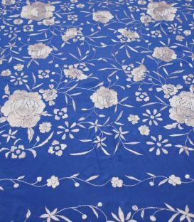Manila Shawls Floral - blue with Ivory