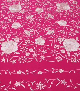 Manila Shawls Floral Fuxia with ivory