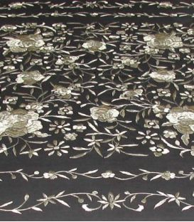 shawl 2 colors - - Manila Shawls Floral - Black with beig