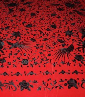 shawl 2 colors - - Manila Shawls Red with Black ( Birds)