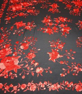 manila shawls - - Manila Shawls - Black with red