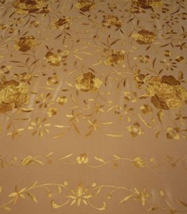 shawl 1 only colour - - Manila Shawls Floral - Gold