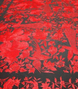 Manton de Manila Flowers and Birds - Black with red