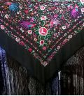 Manila Shawl Birds - Black with colors