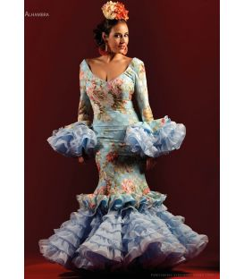 woman flamenco dresses 2019 - Roal - Flamenco dress Alhambra celeste