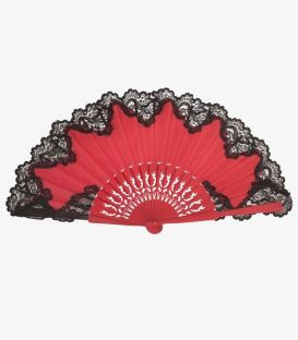 Pericon fan (33cm) - Lace and embroidered