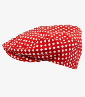 Country Cap - Red with white Polka-Dots