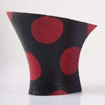 Hand painted: black-red polka dots