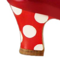 Hand painted: red-white polka dots
